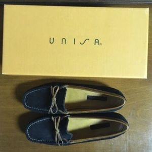 Women's Unisa Loafers Black Suede Brown Leather 7B